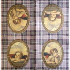 Салфетка Ангелочки на клетчатом фоне (1258)