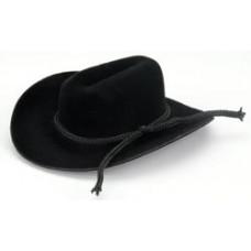 Бархатная ковбойская шляпка, черная 3,18 см (12732-201)