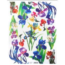 Бумага для декупажа, Цветы ирисы, офс. 60Г/М2 (07258)