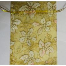 Подарочный мешочек парчовый Пуансетия на желтом фоне