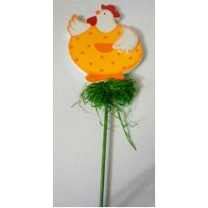 Декор на палочке для цветов Курочка в оранжевом