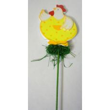 Декор на палочке для цветов Курочка в желтом