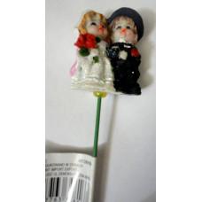 Декор на палочке для цветов керамический Свадьба