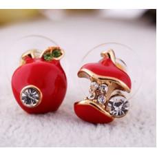 Серьги Красные яблочки (E046)