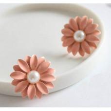 Серьги Розовые маргаритки (E1063)