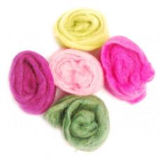 Набор шерсти для валяния Роза, 5 шт. (61850)