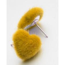 Серьги Меховые сердечки - желтые (E1511)