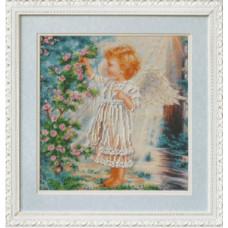 Ангелочек и розовый куст (Б-555)