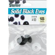 Глазки для игрушек, черные 18 мм (51618)