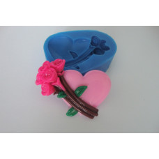 Молд силиконовый Серце с цветами (183)