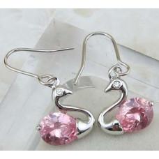 Серьги Розовые лебеди