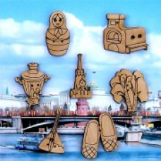 Декоративные пуговицы Россия, 7 шт (02D)
