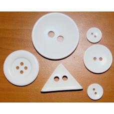 Набор декоративных пуговиц пластиковых, Белое ассорти (BUTI-S-002)