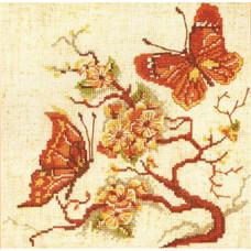 Набор для вышивания крестиком Чарівна мить Бабочки в коричневых тонах (182)