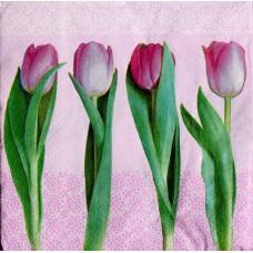 Салфетка Розовые тюльпаны в ряд (1383)
