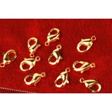 Застежка-карабин для бус золотистая, 10 шт.(987683)