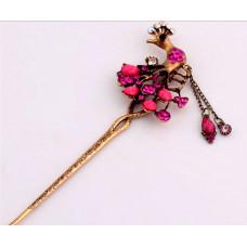 Украшение-шпилька для волос Розовый павлин