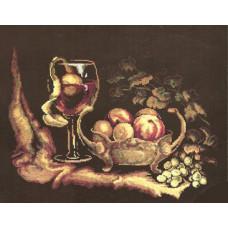 Корзина с яблоками на чёрном фоне (225)
