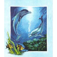 Набор для вышивания крестиком Чарівна мить Дельфинчики (276)