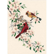 Набор для вышивания гладью Dimensions Птицы-кардиналы на кизиле (1516)