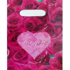 Пакет подарочный бордовый For you