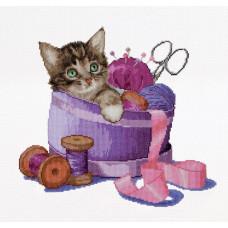Котенок в корзине для шитья (TG736A)