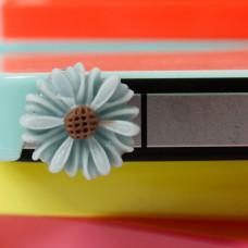 Заглушка разъема телефона Голубой цветочек