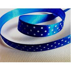 Атласная лента в белый горошек, синяя, 10 мм