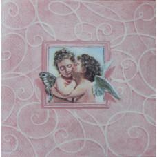 Салфетка Поцелуй ангела на розовом (1495)