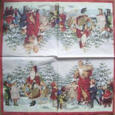 Салфетка Дед Мороз и дети (1554)