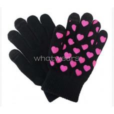 Вязанные перчатки Розовые сердечки