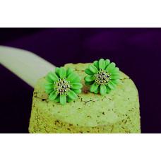 Серьги Зеленые цветочки