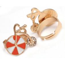 Кольцо Бело-оранжевый старинный велосипед