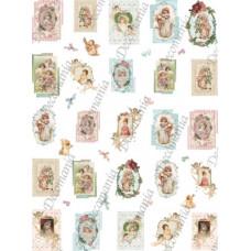 Бумага рисовая Миниоткрытки Детки и ангелы (DC-LMD7051)