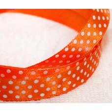 Атласная лента в белый горошек, оранжевая, 15 мм