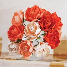 Бумажные розы Серенада, оранжевые (SEREN 61482)