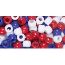 Набор акриловых бусин Красный, белый и синий, 700 шт.(34140)