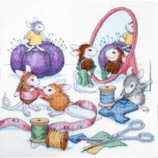 Набор для вышивания крестом Dimensions Мышки - рукодельницы (13731)