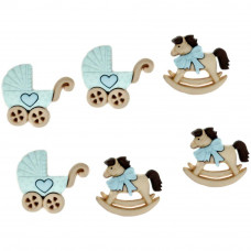 Набор пуговиц-украшений Лошадки-коляски (мальчик)(DIUBTN 5823)