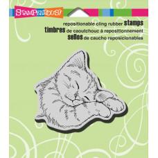 Резиновый штамп Спящий котик (CRQ207)