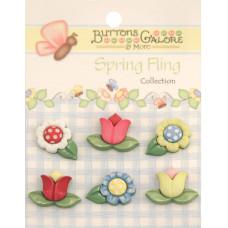 Набор пуговиц-украшений Весенние цветы (SF 104)