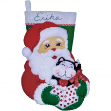 Рождественский сапожок (фетр) Санта с котом (DW5096)