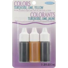 Набор жидких красителей для мыла - желтый, бирюзовый и лайм (530 16)