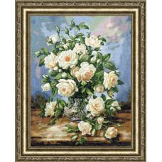Набор для вышивания крестиком Золотое руно Букет белых роз (ЛЦ-043)
