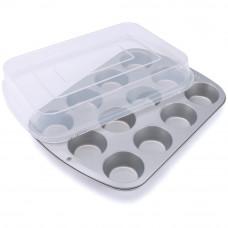 Металлическая форма для выпечки 12 кексов, с крышкой (W1832)