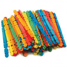 Набор заготовок Палочки с пазами деревянные разноцветные, 100 шт.(CW512)