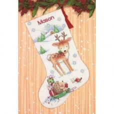 Набор для вышивания крестом Dimensions Рождественский сапожок Северный олень и ежик (70-08978)
