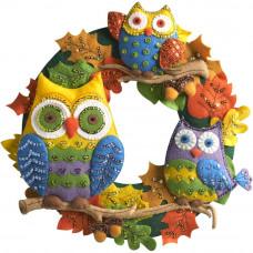 Венок из фетра на стену/дверь Owl Wreath (86562)