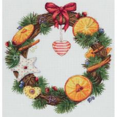 Набор для вышивания крестом Panna Венок с апельсином и корицей (ПС-7055)