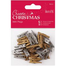 Набор мини-прищепок деревянных Рождество, золото-серебро (PM174923)